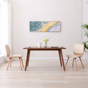 Cadeiras de jantar 2 pcs couro artificial creme - PORTES GRÁTIS