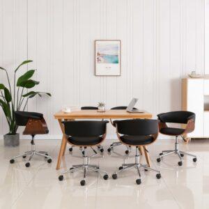 Cadeira jantar giratória madeira curvada/couro artificial preto - PORTES GRÁTIS