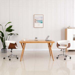 Cadeira jantar giratória madeira curvada/couro arti. branco - PORTES GRÁTIS
