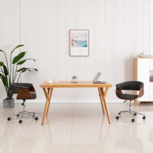 Cadeira de jantar giratória madeira curvada e tecido cinzento - PORTES GRÁTIS