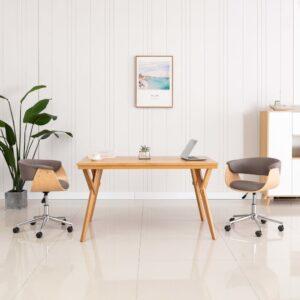 Cadeira de jantar giratória madeira/tecido cinza-acastanhado - PORTES GRÁTIS