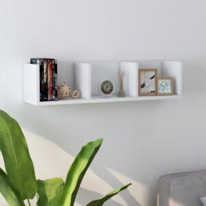 Prateleira de parede para CD 75x18x18 cm contraplacado branco - PORTES GRÁTIS