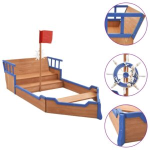 Caixa de areia navio pirata 190x94,5x136 cm madeira de abeto - PORTES GRÁTIS
