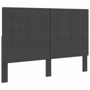 Cabeceira de cama acolchoada 140x200 cm tecido cinzento-escuro  - PORTES GRÁTIS