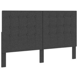 Cabeceira de cama acolchoada 160x200 cm tecido cinzento-escuro  - PORTES GRÁTIS