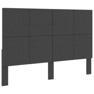 Cabeceira de cama 160x200 cm tecido cinzento-escuro  - PORTES GRÁTIS