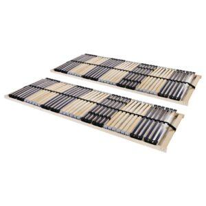 Estrados de ripas 2 pcs com 42 ripas 7 zonas 90x200 cm  - PORTES GRÁTIS