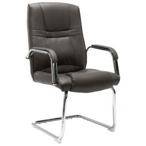 Cadeira de escritório cantilever em couro artificial cinzento - PORTES GRÁTIS