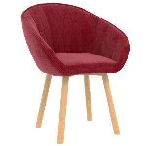 Cadeira de jantar veludo vermelho tinto - PORTES GRÁTIS