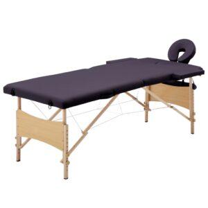 Mesa de massagens dobrável 2 zonas madeira roxo - PORTES GRÁTIS