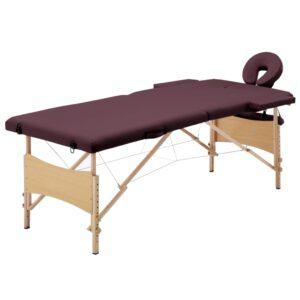 Mesa de massagens dobrável 2 zonas madeira roxo escuro - PORTES GRÁTIS