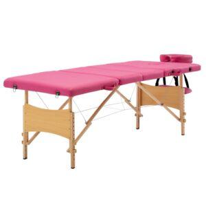 Mesa de massagens dobrável 4 zonas madeira rosa  - PORTES GRÁTIS