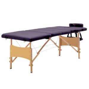 Mesa de massagens dobrável 4 zonas madeira roxo - PORTES GRÁTIS