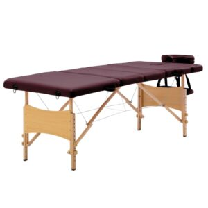 Mesa de massagens dobrável 4 zonas madeira roxo escuro - PORTES GRÁTIS