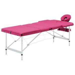 Mesa de massagens dobrável 3 zonas alumínio rosa  - PORTES GRÁTIS