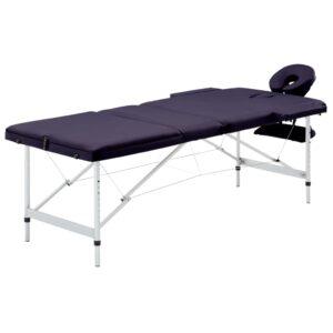 Mesa de massagens dobrável 3 zonas alumínio roxo - PORTES GRÁTIS