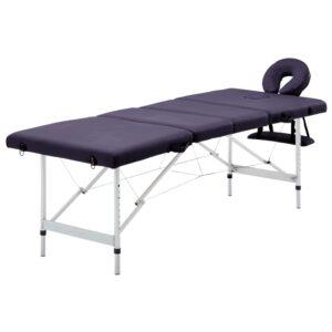 Mesa de massagens dobrável 4 zonas alumínio roxo - PORTES GRÁTIS