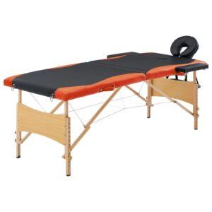 Mesa de massagens dobrável 2 zonas madeira preto e laranja - PORTES GRÁTIS