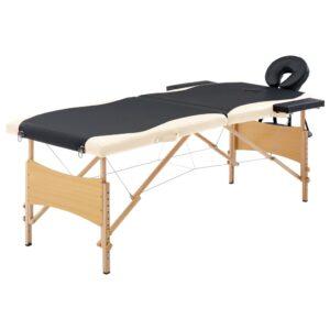Mesa de massagens dobrável 2 zonas madeira preto e bege - PORTES GRÁTIS