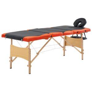 Mesa de massagens dobrável 4 zonas madeira preto e laranja - PORTES GRÁTIS
