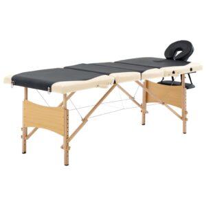Mesa de massagens dobrável 4 zonas madeira preto e bege - PORTES GRÁTIS