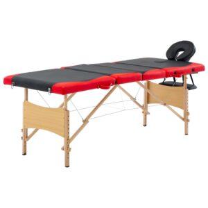 Mesa de massagens dobrável 4 zonas madeira preto e vermelho - PORTES GRÁTIS