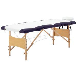 Mesa de massagens dobrável 4 zonas madeira branco e roxo - PORTES GRÁTIS