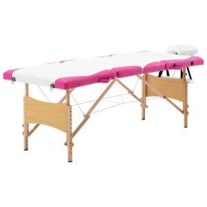 Mesa de massagens dobrável 4 zonas madeira branco e rosa - PORTES GRÁTIS