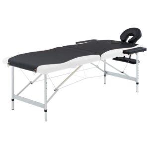 Mesa de massagem dobrável 2 zonas alumínio preto e branco - PORTES GRÁTIS