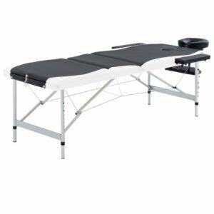 Mesa de massagem dobrável 3 zonas alumínio preto e branco - PORTES GRÁTIS
