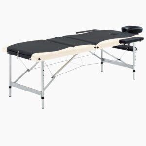 Mesa de massagem dobrável 3 zonas alumínio preto e bege - PORTES GRÁTIS
