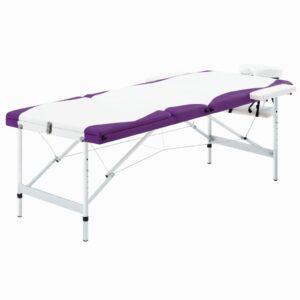 Mesa de massagem dobrável 3 zonas alumínio branco e roxo - PORTES GRÁTIS