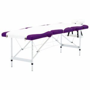 Mesa de massagem dobrável 4 zonas alumínio branco e roxo - PORTES GRÁTIS