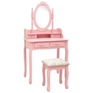Conj. toucador com banco 75x69x140 cm madeira paulownia rosa - PORTES GRÁTIS