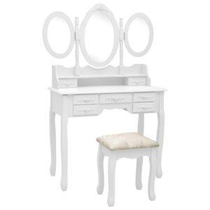 Toucador com banco e espelho tripartido branco  - PORTES GRÁTIS
