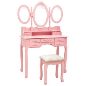 Toucador com banco e espelho tripartido rosa - PORTES GRÁTIS