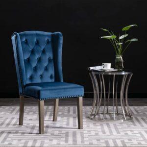 Cadeira de jantar veludo azul - PORTES GRÁTIS