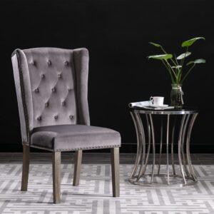 Cadeira de jantar veludo cinzento - PORTES GRÁTIS