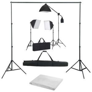 Kit de estúdio fotográfico com softbox de iluminação e fundos - PORTES GRÁTIS
