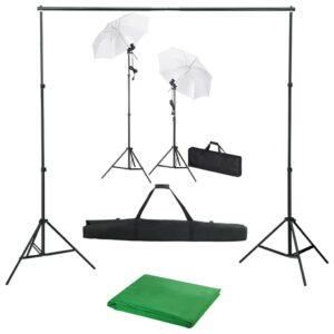 Kit estúdio de fotografia com fundo + iluminação e sombrinhas - PORTES GRÁTIS