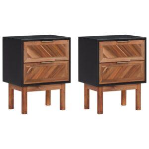 2 Mesas de cabeceira 40x30x53cm madeira acácia maciça e MDF - PORTES GRÁTIS