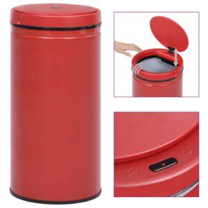 Caixote do lixo com sensor automático 70 L aço carbono vermelho - PORTES GRÁTIS