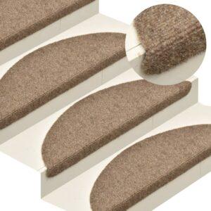 Tapetes de escada adesivos 15 pcs 65x21x4 cm agulhado creme - PORTES GRÁTIS