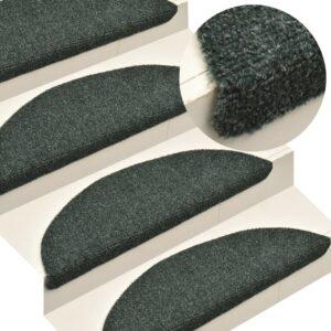 Tapetes de escada adesivos 15 pcs 65x21x4 cm agulhado verde - PORTES GRÁTIS