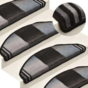 Tapetes de escada adesivos 15 pcs 65x21x4 cm preto e cinzento - PORTES GRÁTIS