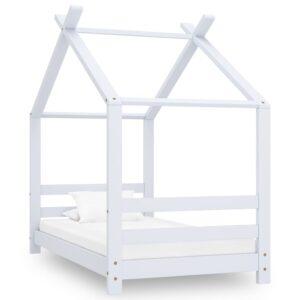 Estrutura de cama para crianças 70x140 cm pinho maciço branco - PORTES GRÁTIS