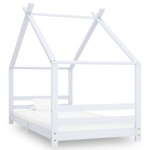 Estrutura de cama para crianças 90x200 cm pinho maciço branco - PORTES GRÁTIS