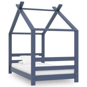 Estrutura de cama para crianças 70x140 cm pinho maciço cinzento - PORTES GRÁTIS