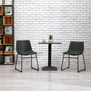 Cadeira de jantar couro artificial cinzento - PORTES GRÁTIS