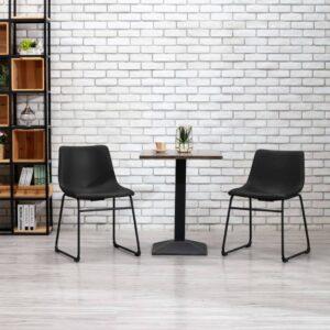 Cadeira de jantar couro artificial preto - PORTES GRÁTIS